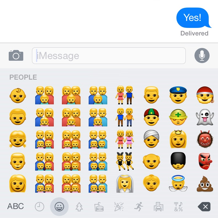 New Emoji keyboard in iOS 8.3