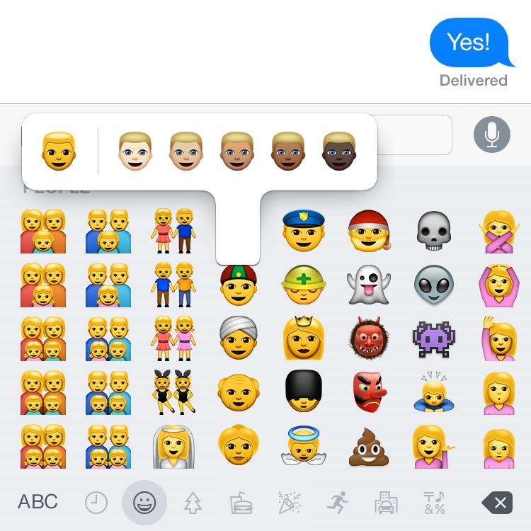 New skin tones for emoji in iOS 8.3
