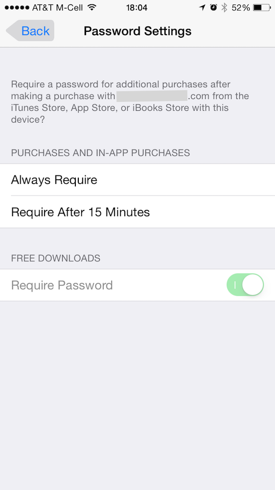 Password settings in iOS 8.3