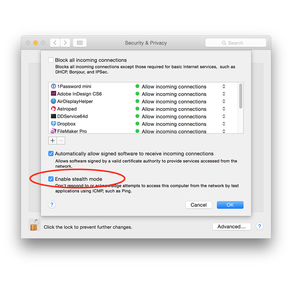 Firewall Preferences in Yosemite showing stealth mode