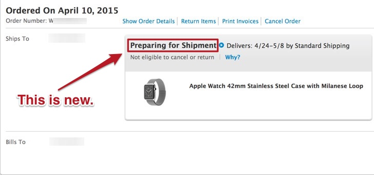 Apple Watch Preparing for Shipment