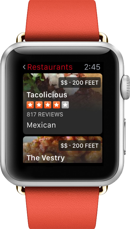 Find the perfect restaurant from your wrist with Yelp