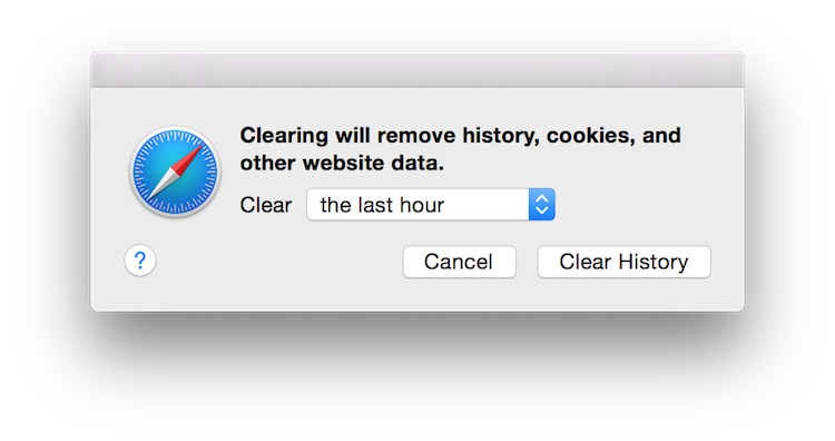 Safari clear history dialog