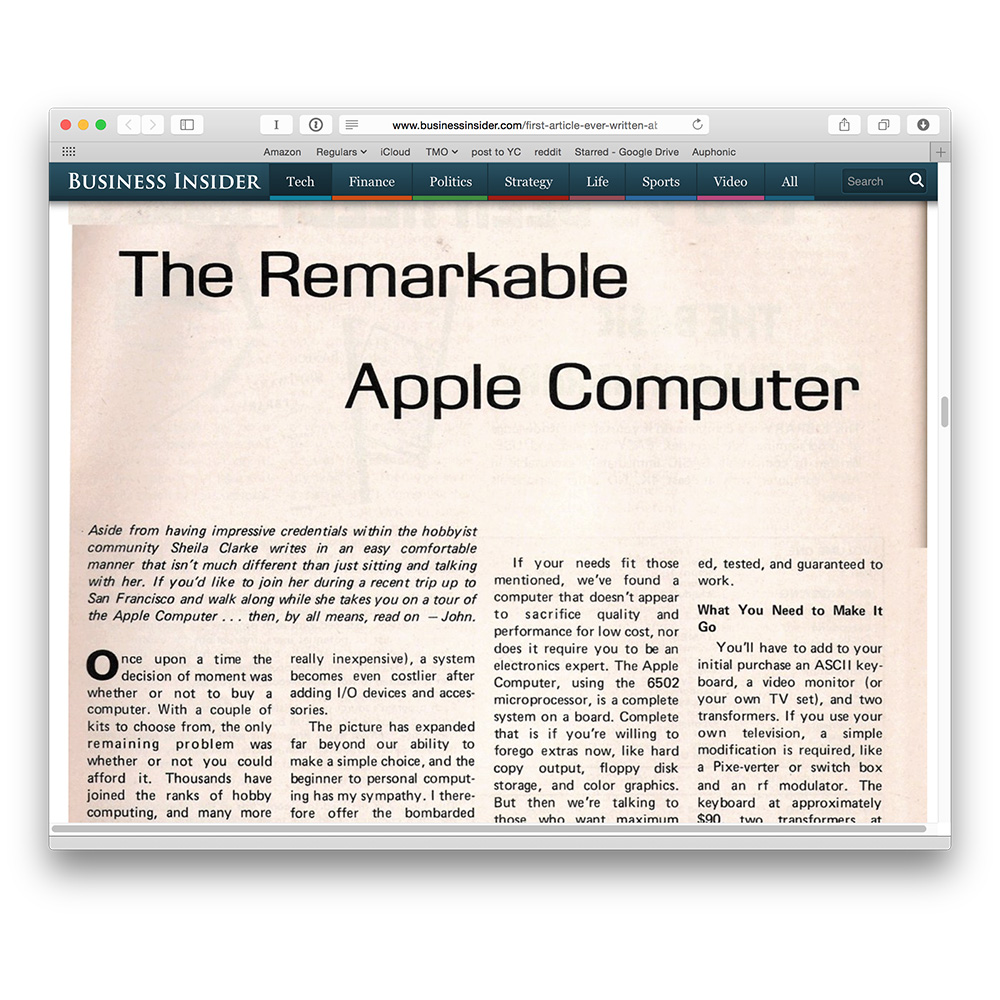 The First Apple Article Ever