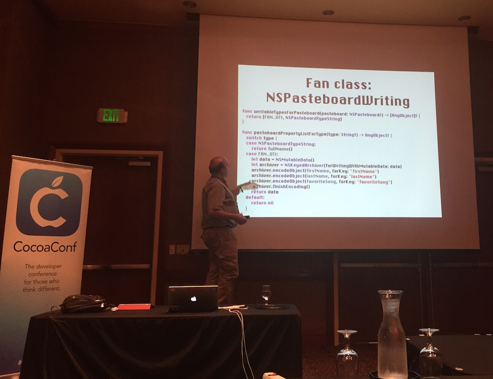 Chris Adamson presenting at CocoaConf Portland.