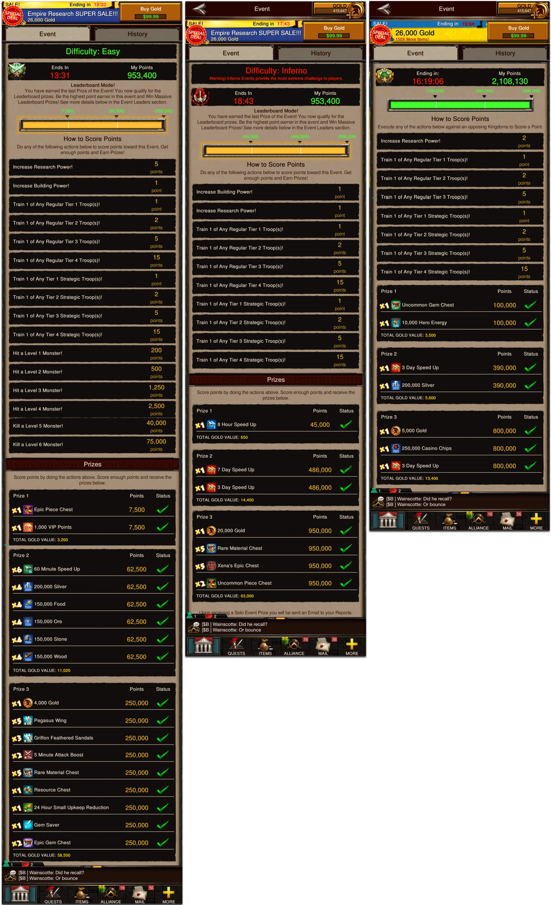 Game of War Events