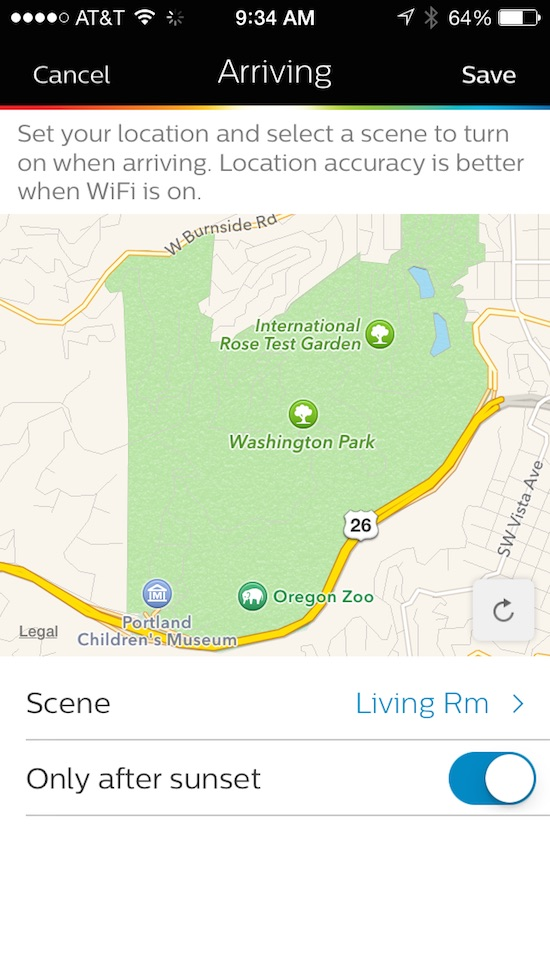 Philips Hue app setting up geofencing.