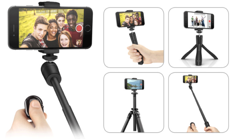 iKlip Grip: iPhone Stand and Selfiestick with Bluetooth Shutter