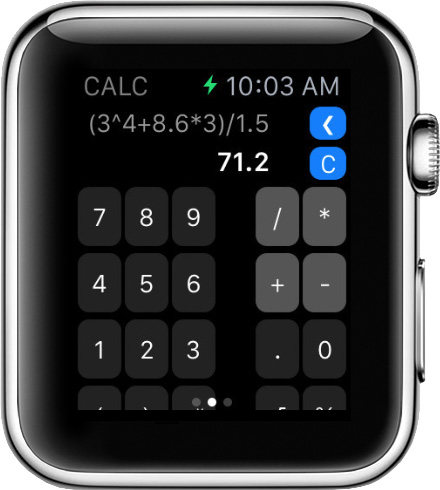 CALC is a fully functional calculator on your wrist