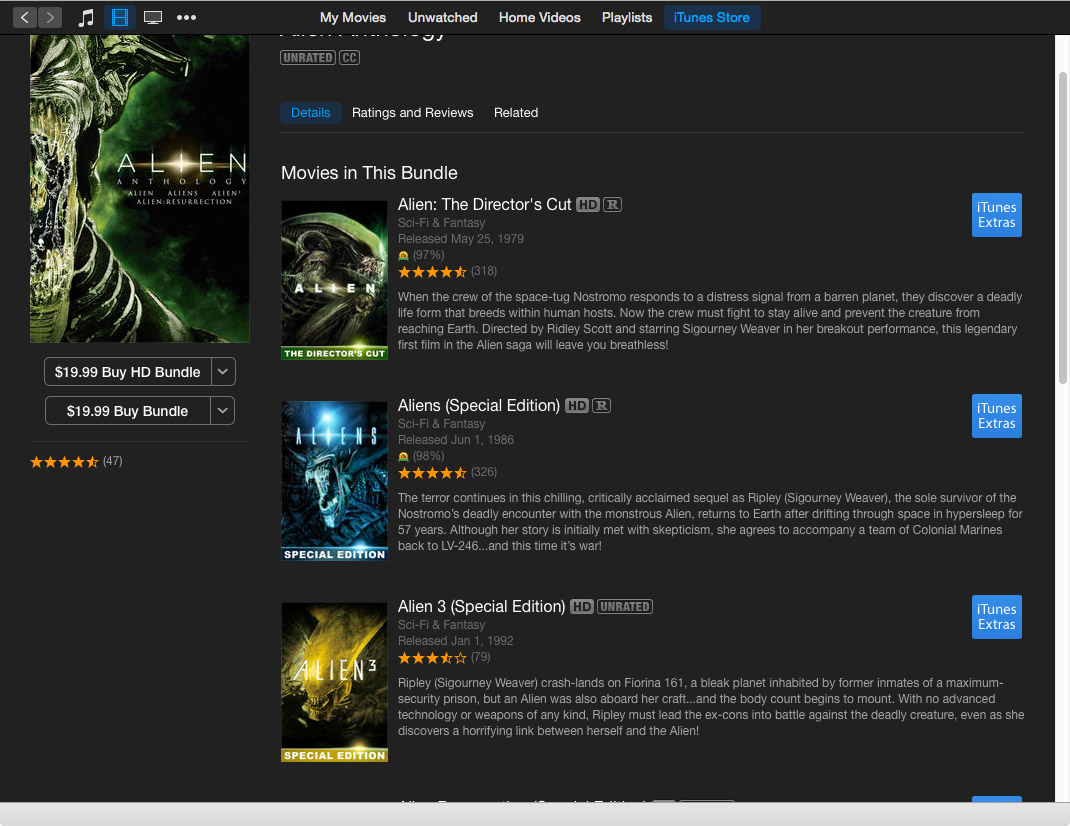 iTunes 'Limited Time' Movie Bundles: Lord of the Rings for $14.99, Aliens Anthology for $19.99
