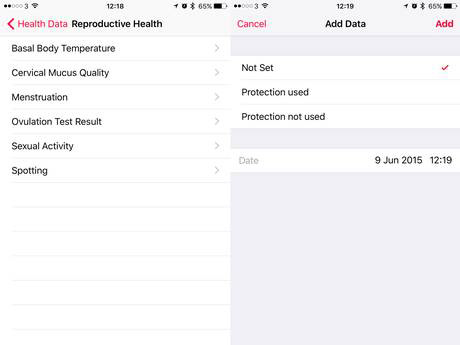 Reproductive Health tracking in iOS 9, via The Independent