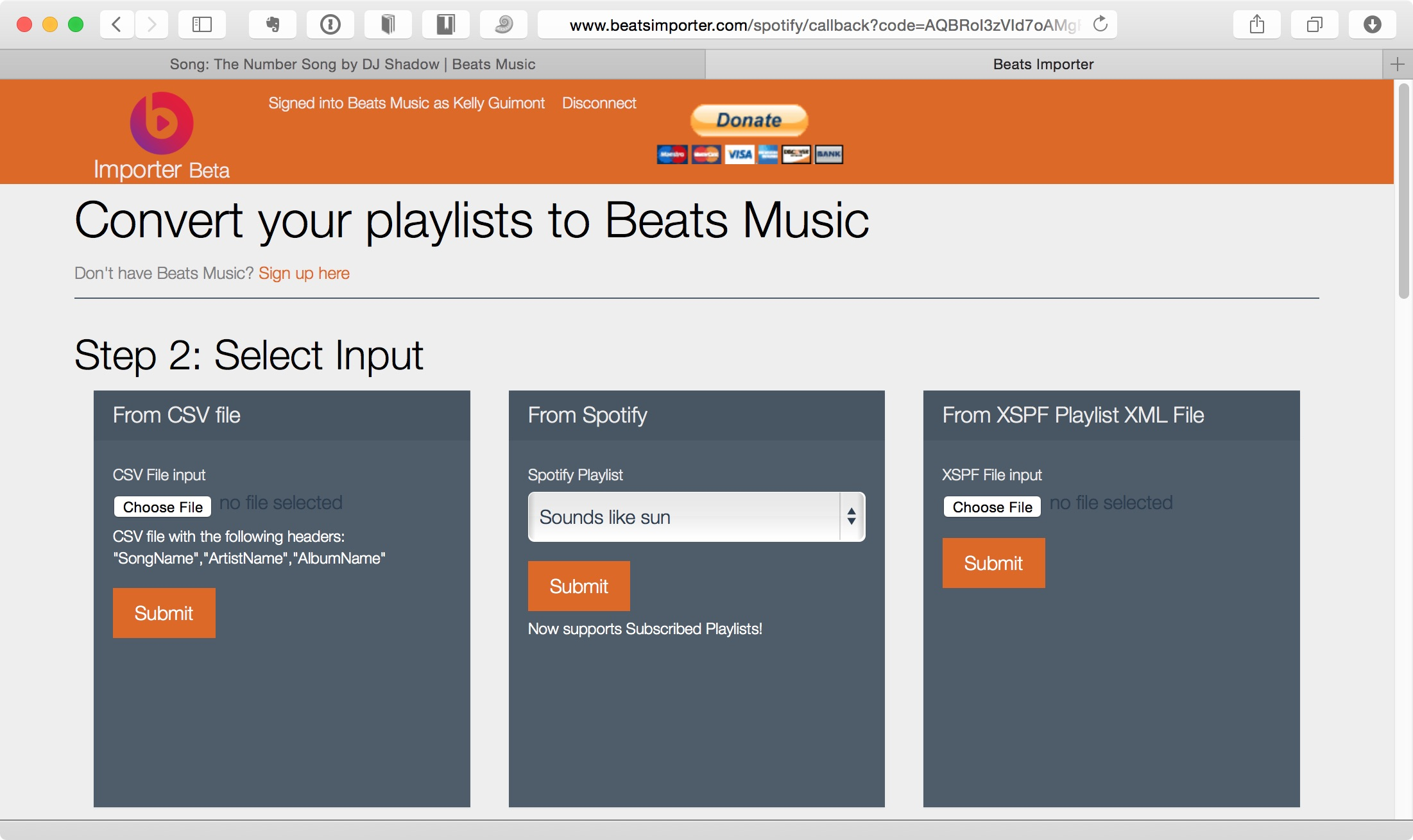 Beats Importer showing Spotify playlists to import