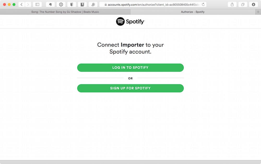 Beats Importer asking to connect to Spotify.