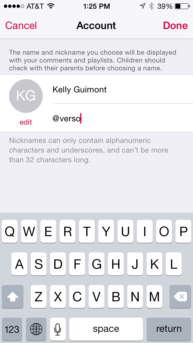 Editing nickname and real name in Apple Music Account preferences.