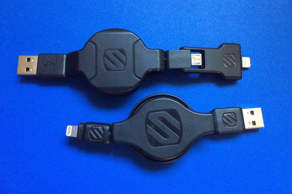 Two Scosche Retractable Lightning Cables