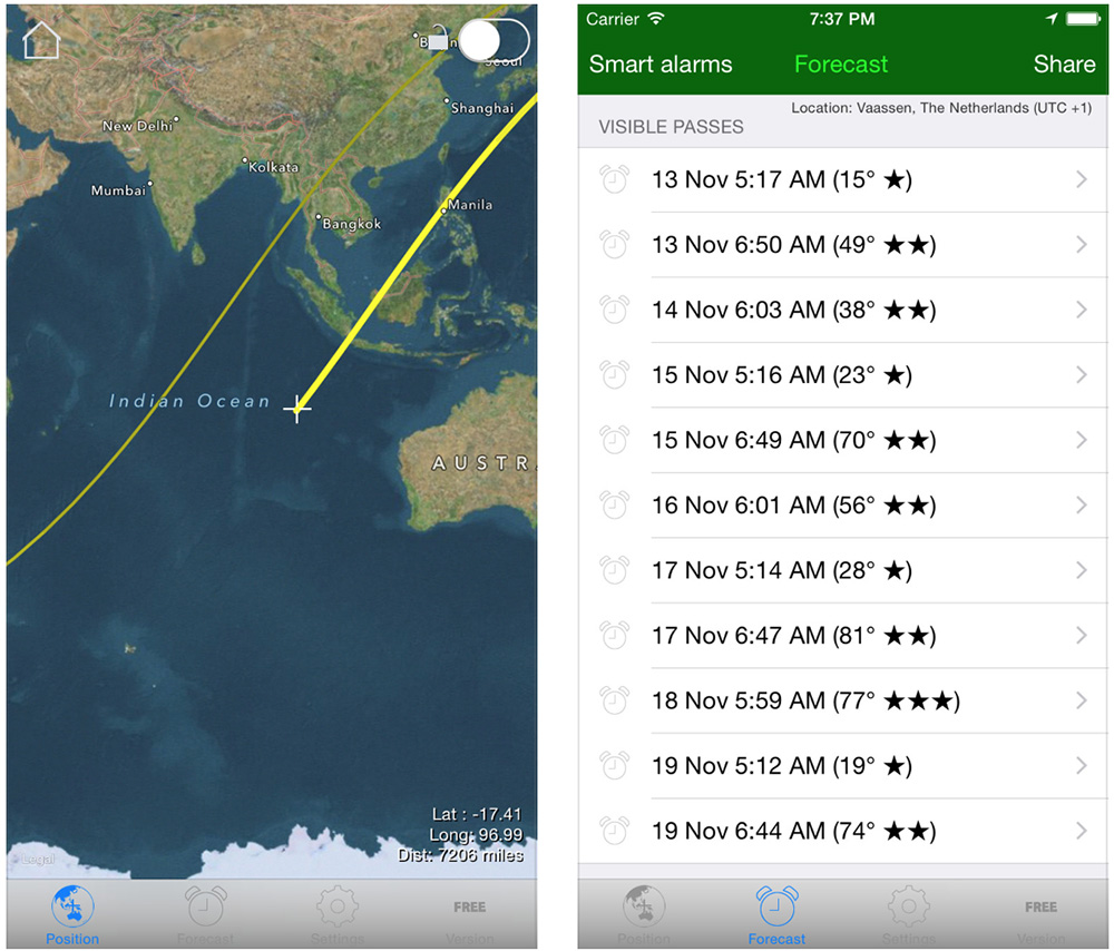 ISS Spotter shows viewing times with maps and charts