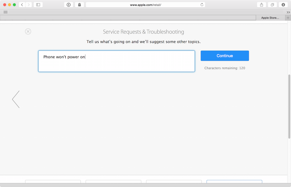 Filling in Apple�s troubleshooting wizard
