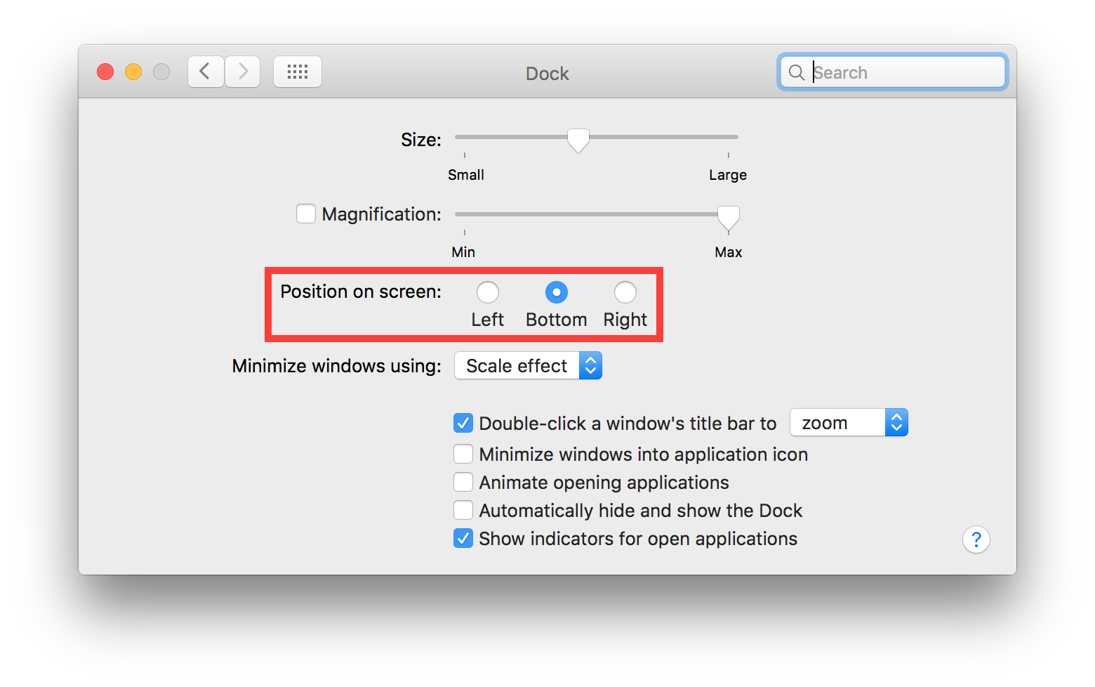 os x system preferences dock position