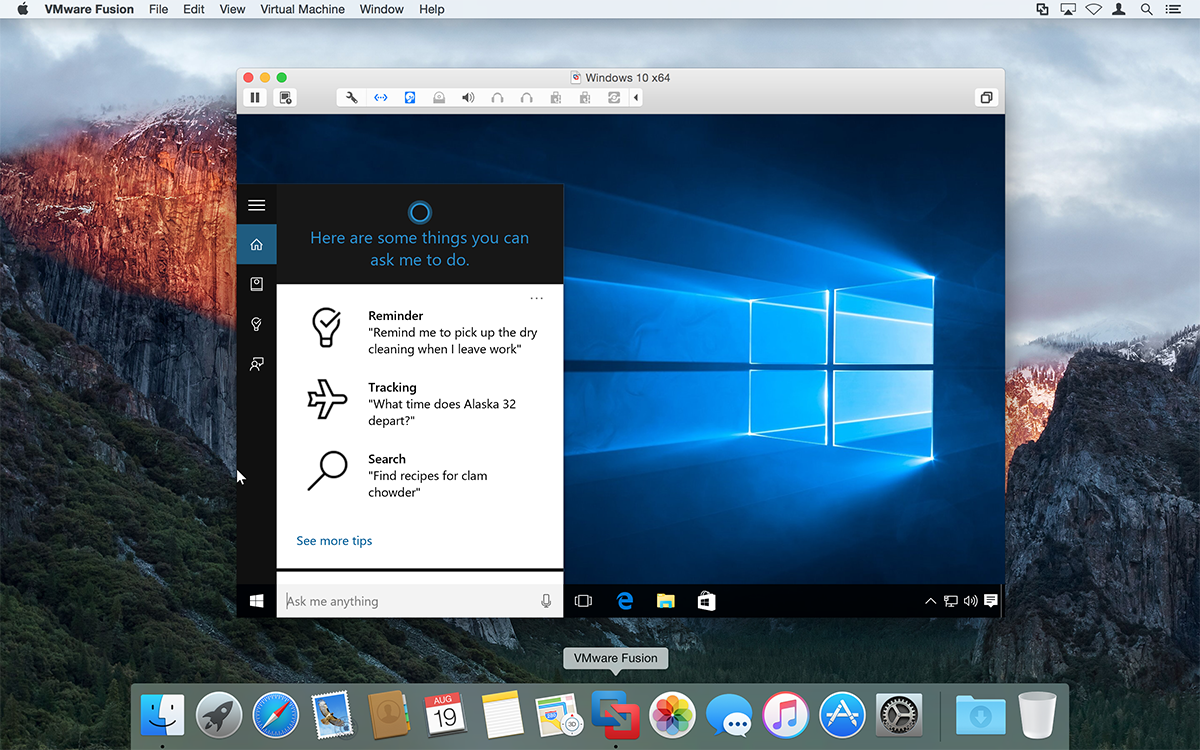 vmware fusion 8 windows 10 cortana