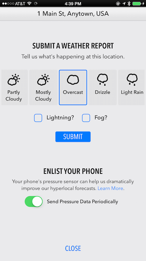 screenshot of Dark Sky preferences