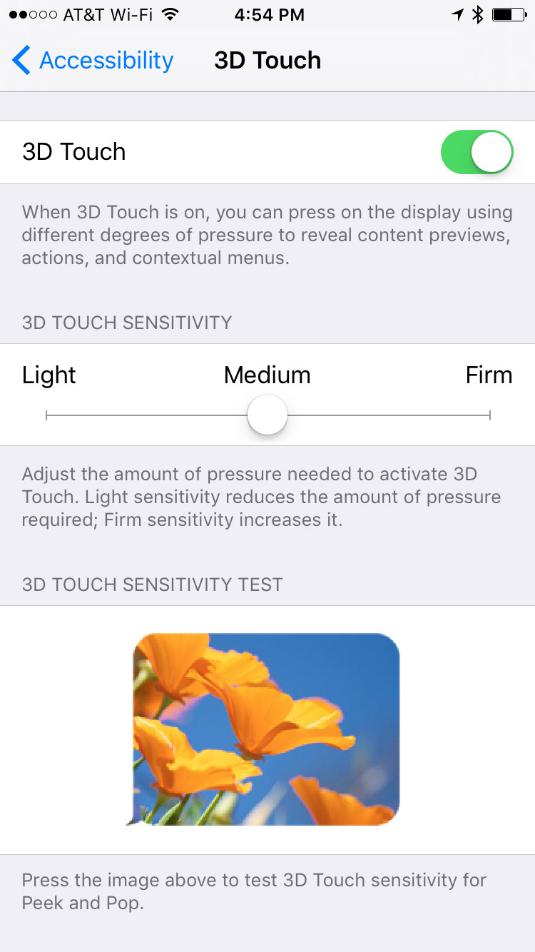 3D Touch Accessibility Settings