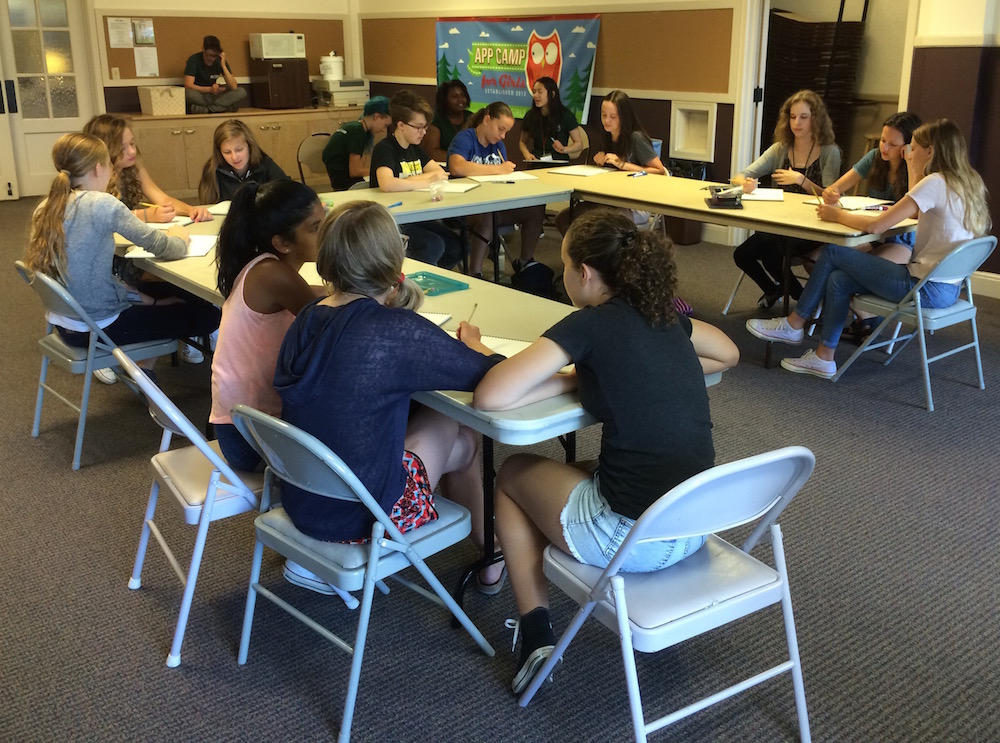 App Camp for Girls July 2015 pitching app ideas