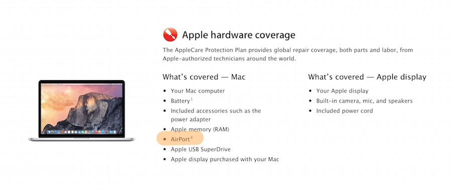Screenshot of AppleCare page listing what�s covered