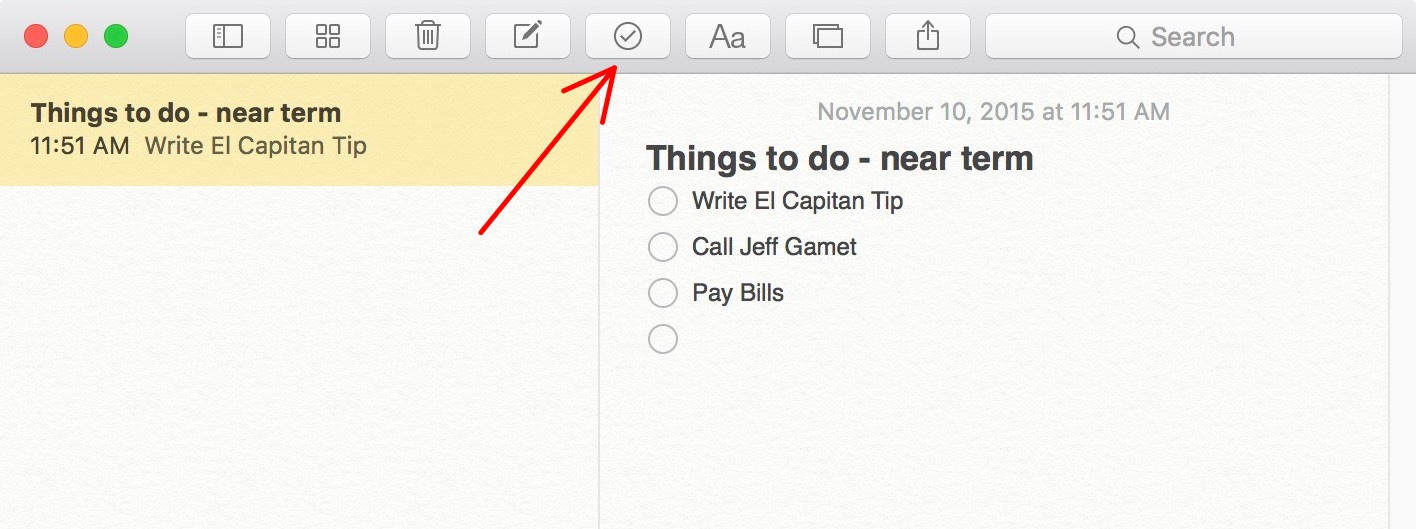 How To Create Fast And Easy Checklists In Os X El Capitan'S Notes