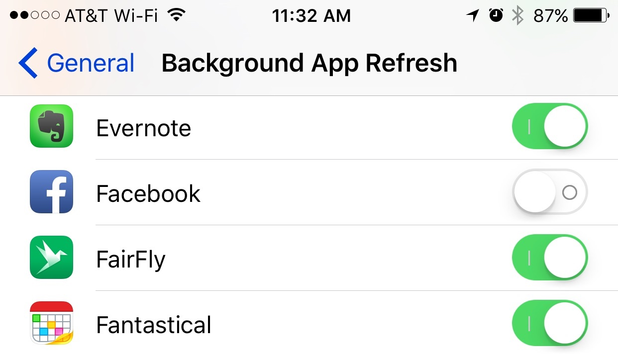 Disable Facebook's Background App Refresh