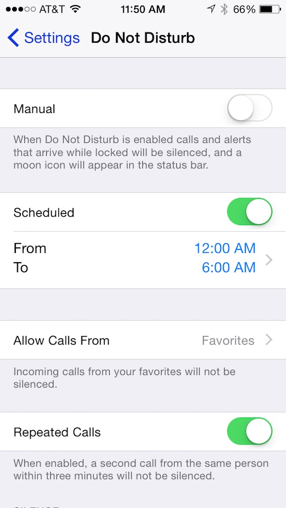 Settings Do Not Disturb Preferences