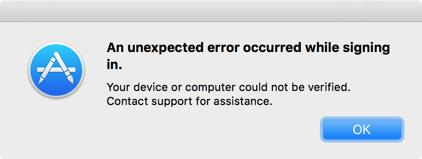An unexpected error occurred while signing in. Your device or computer could not be verified. Contact support for assistance.