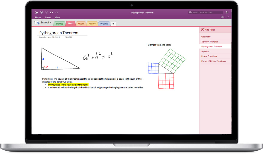 OneNote 2016 for Mac Screenshot