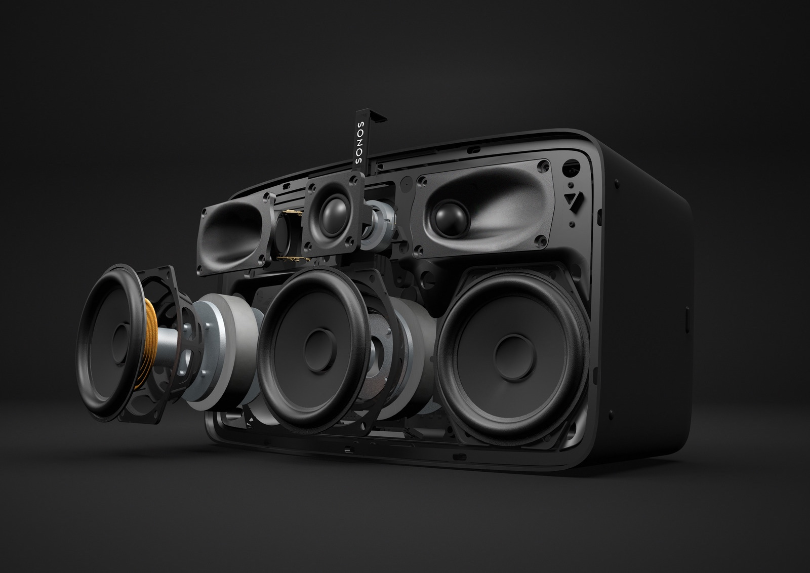 Sonos new PLAY:5 exploded view, six speakers