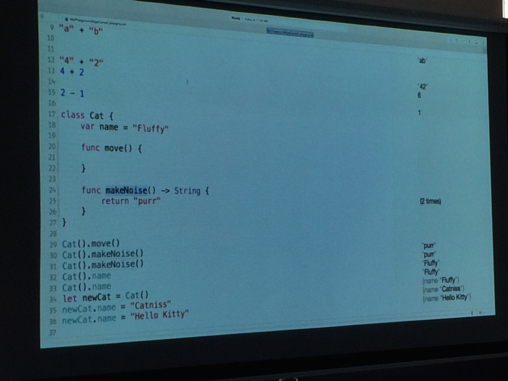 Swift on a projector at App Camp for Girls 2015