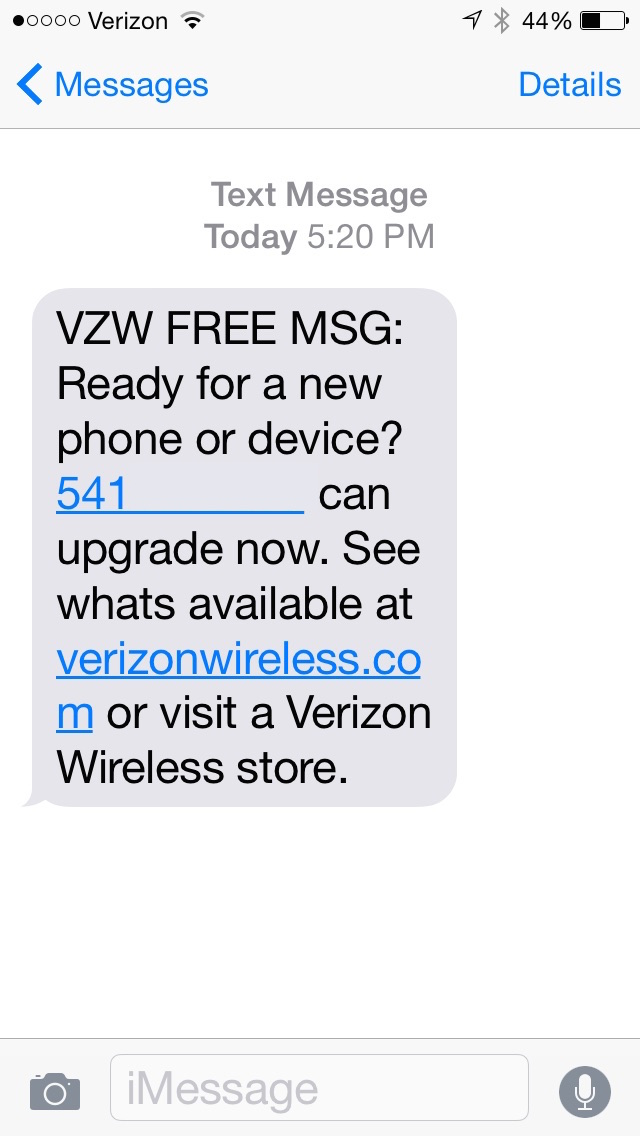 Verizon text message for eligibility check.
