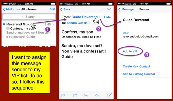 Different panels from iOS Mail