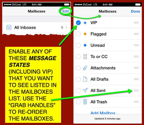 Details from the Mailbox panel in iOS 7 Mail
