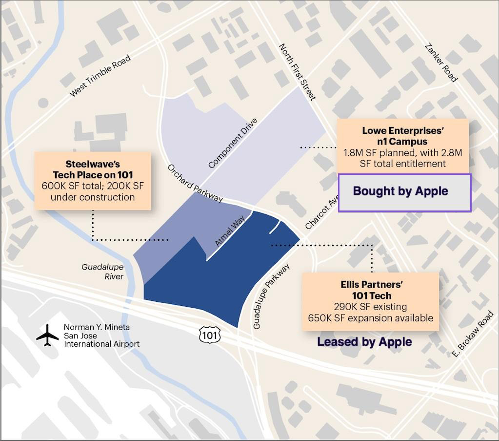 Land Development in San Jose, with Properties Owned or Leased by Apple