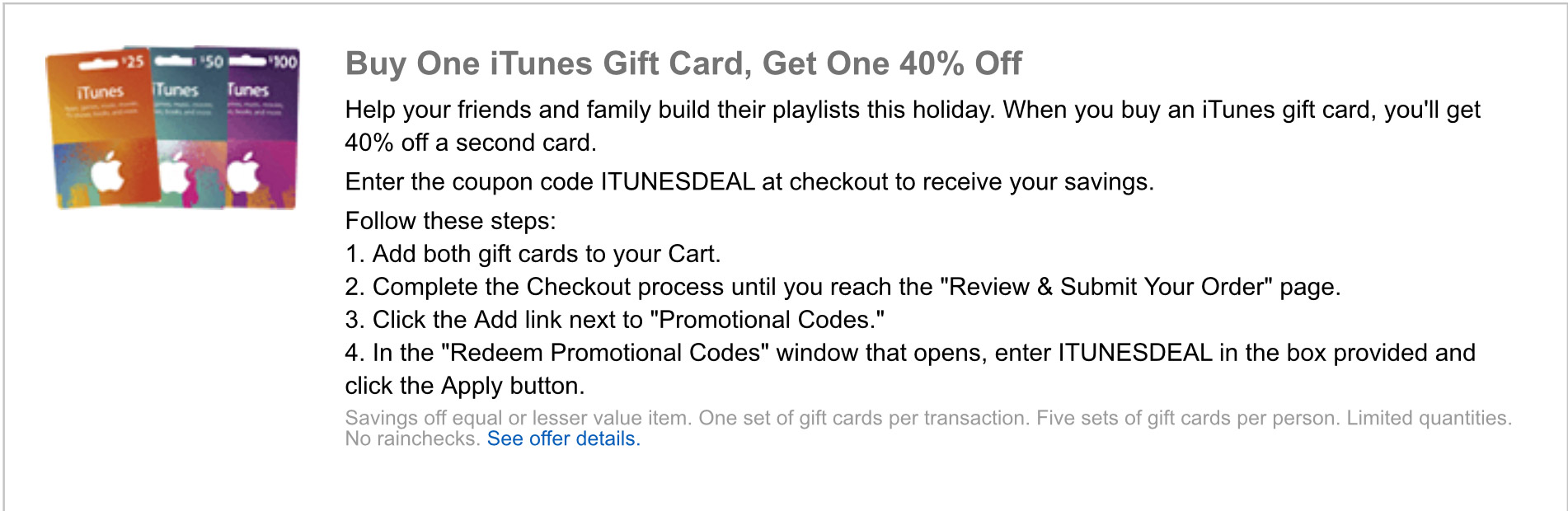 20% Off iTunes Cards