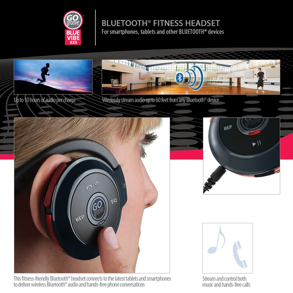 BlueVIBE EXS+ Wrap-Around Bluetooth Headphones - $19.99 (Today Only)