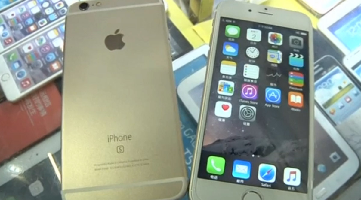 A fake iPhone 6s (or iPhone s) and a fake iPhone 6s Plus running Android skinned to look like iOS
