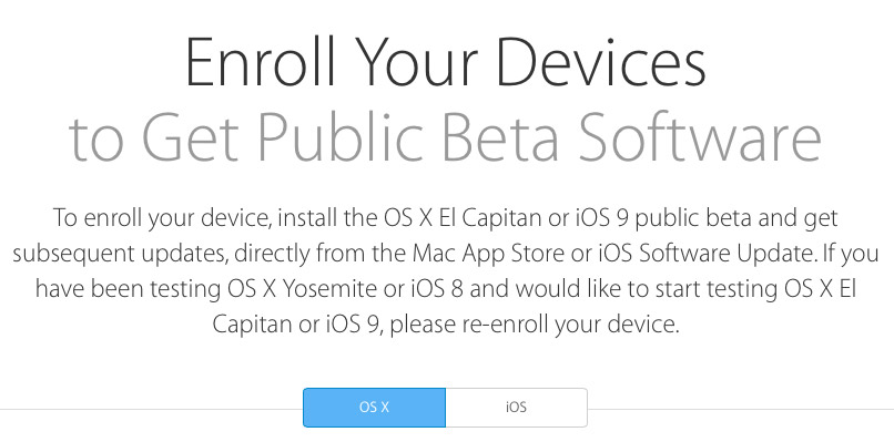 Enroll Your Device to Get Public Beta Software Webpage