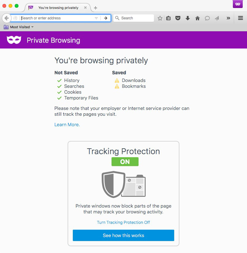 Firefox Private Browsing Mode with Tracking Protection Screenshot