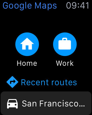 Google Maps app on Apple Watch