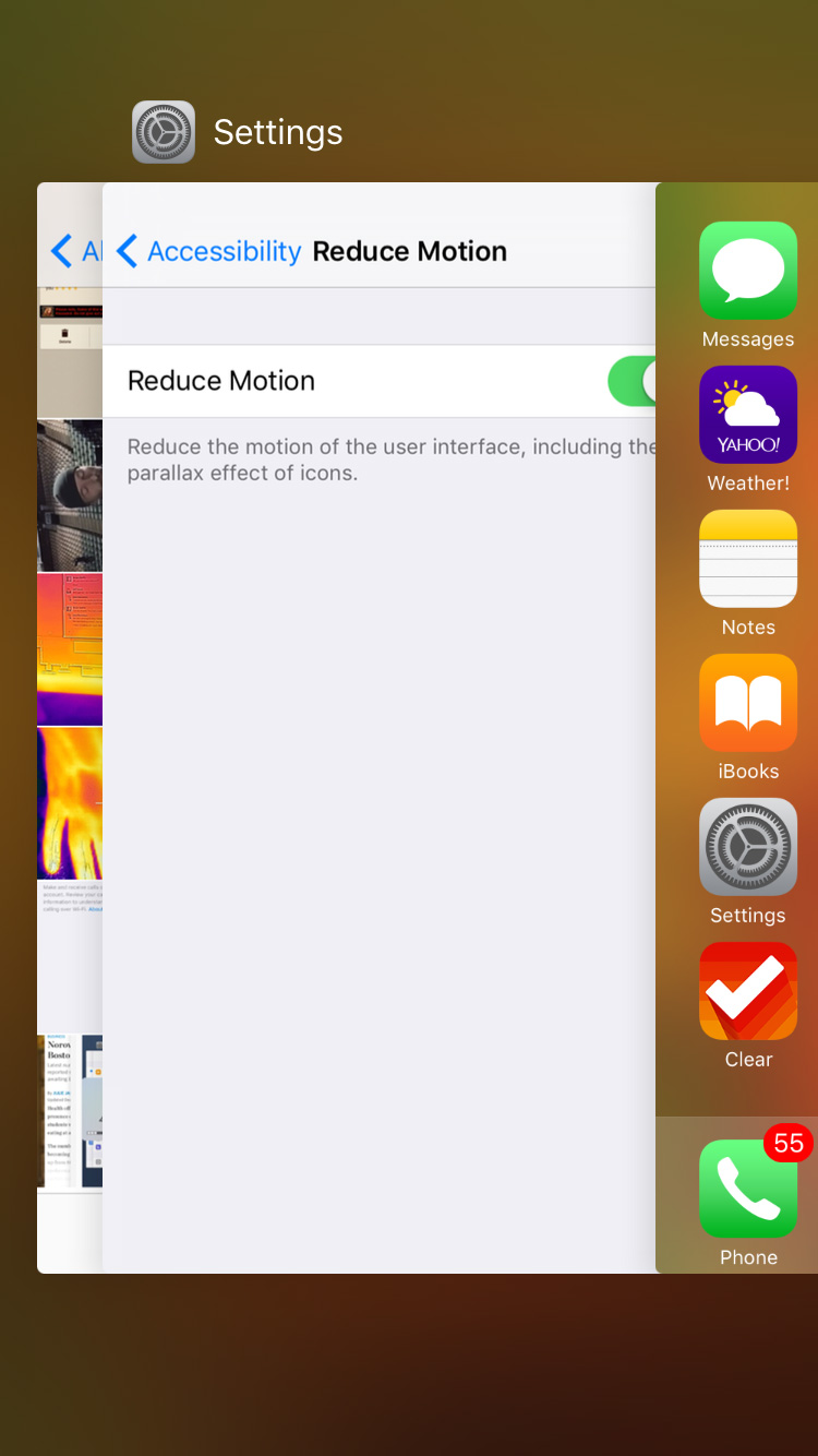 iOS 9.2 Reduce Motion On