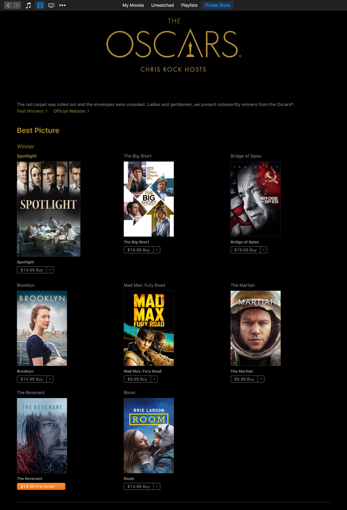 Apple Gathers Oscar Winners and Nominees on iTunes