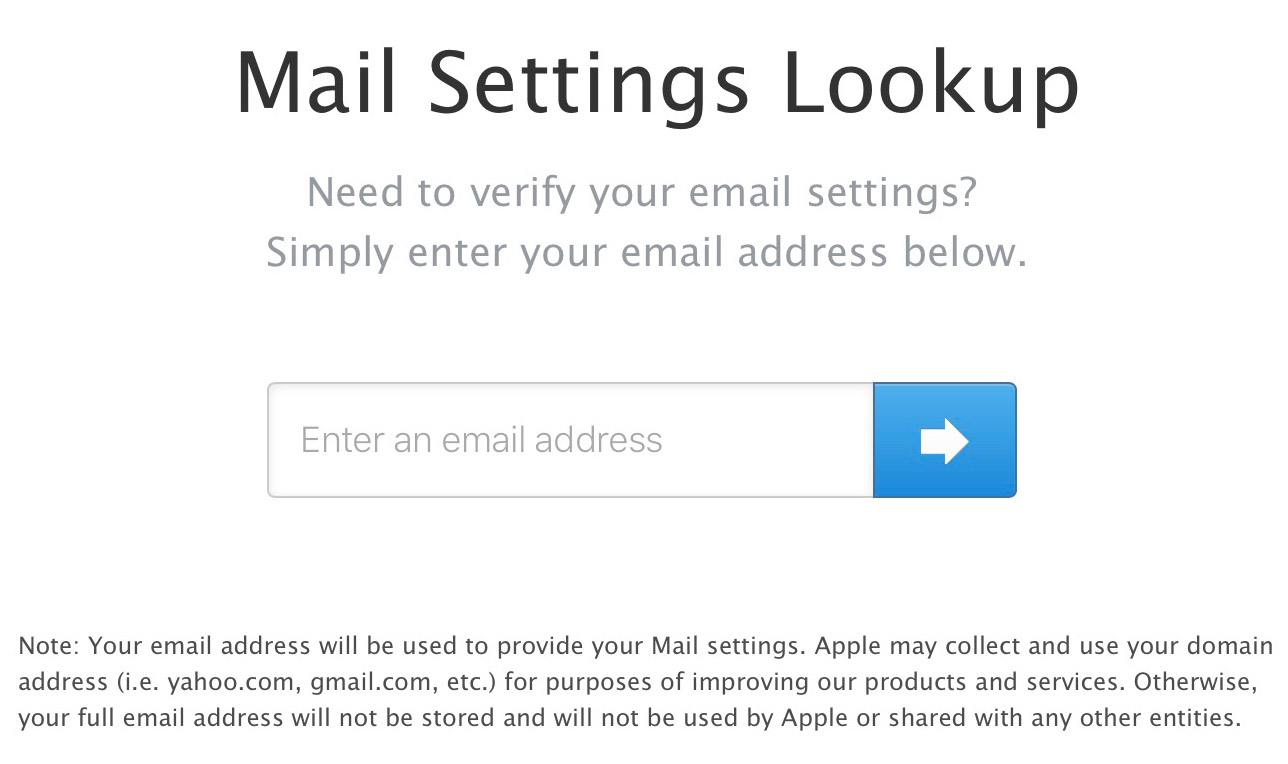 Mail Settings Lookup