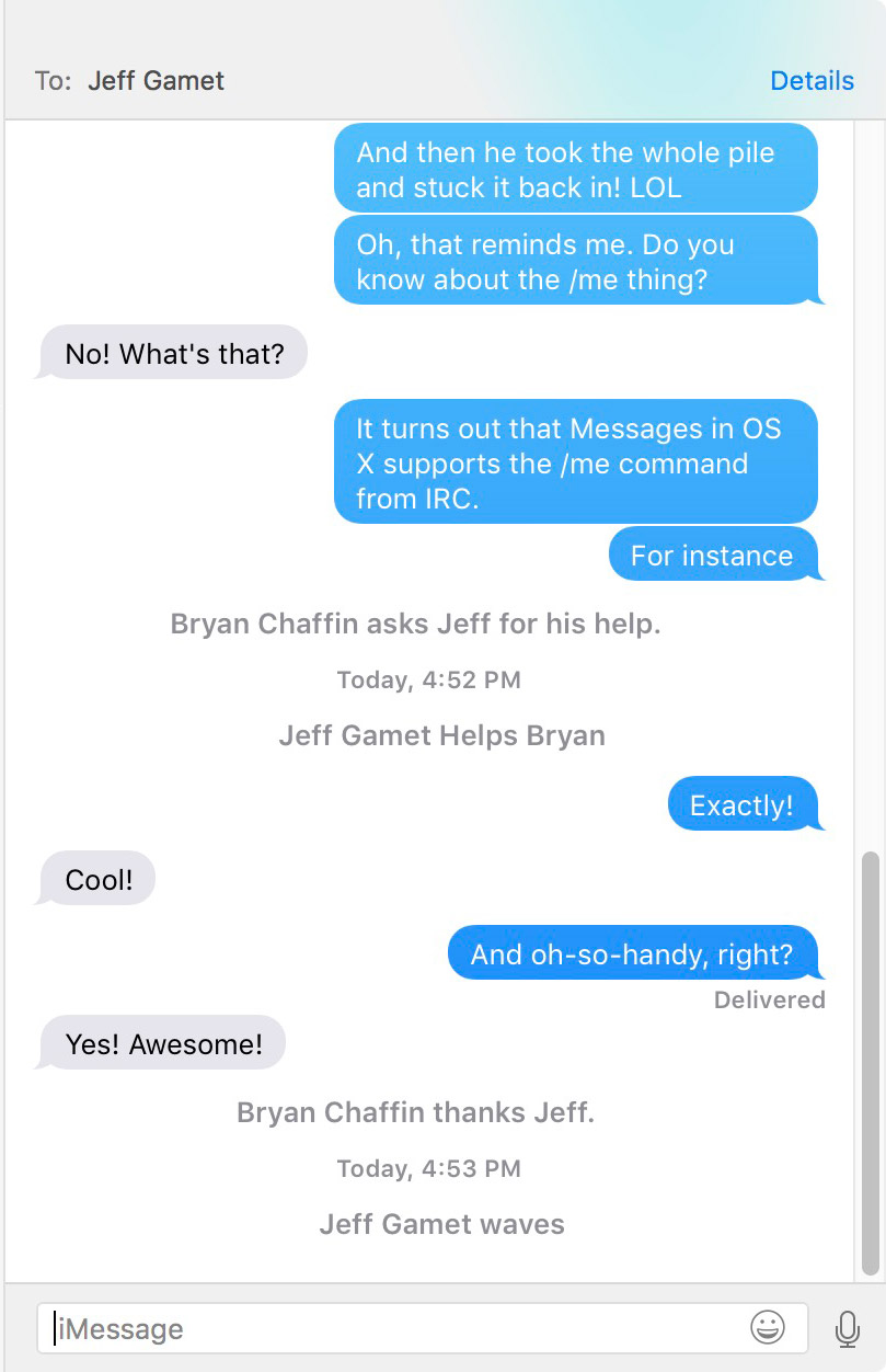 Some /me commands in Messages for Mac in OS X 10.11.2 El Capitan
