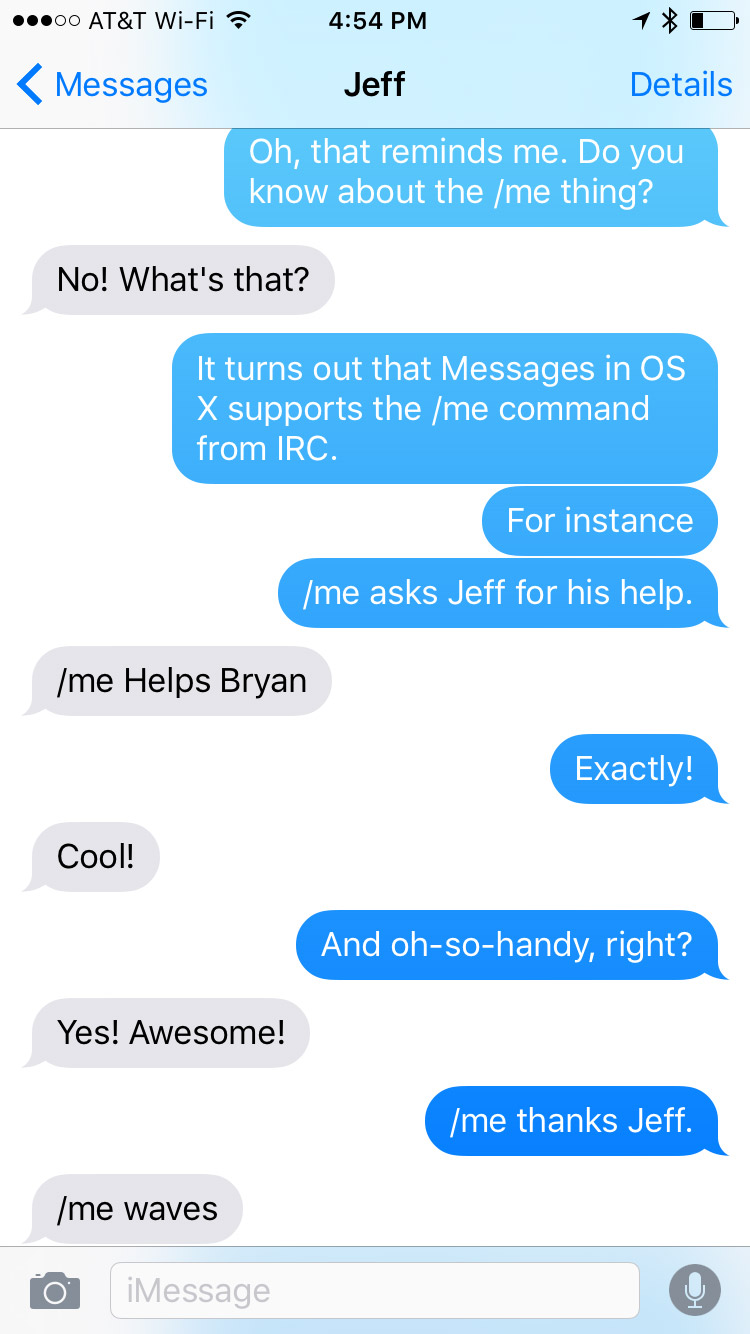 That same conversation as viewed on an iPhone in iOS 9.2