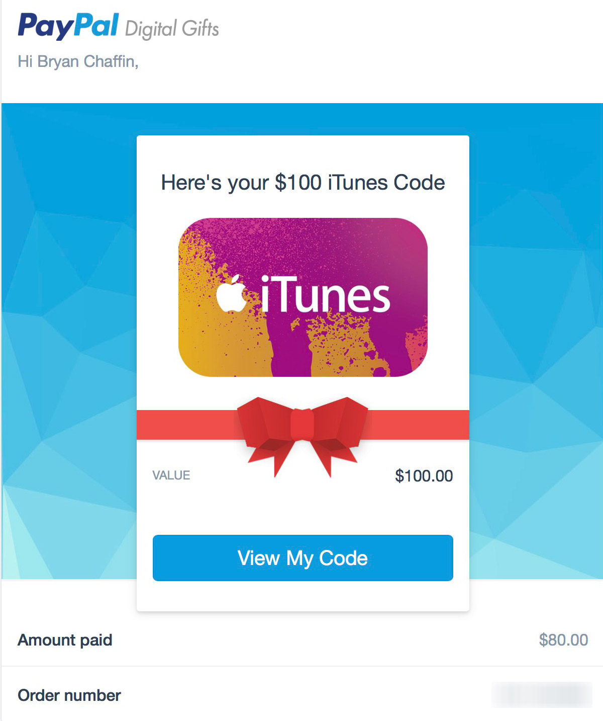 PayPal Digital Gifts Receipt